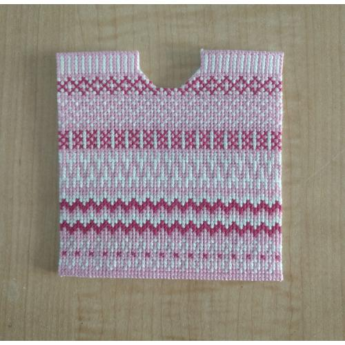 Pink and White Cross-stitch Saddle Pad