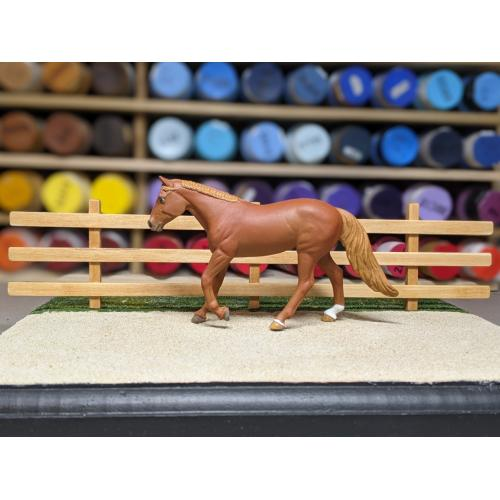 9″ Three-Rail, Three-Post Fence (Removeable, Stablemate Scale, 1:32)