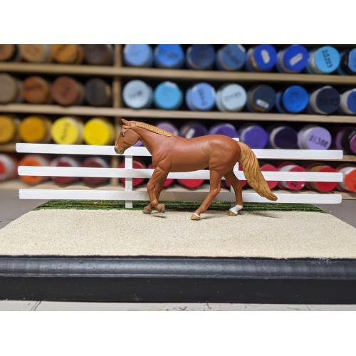 9″ Three-Rail, Two-Post Fence (Removeable, Stablemate Scale, 1:32)