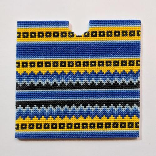 Blue and Yellow Cross stitch Saddle Pad
